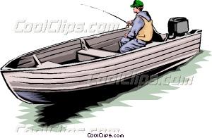 Fisherman in boat Vector Clip art.