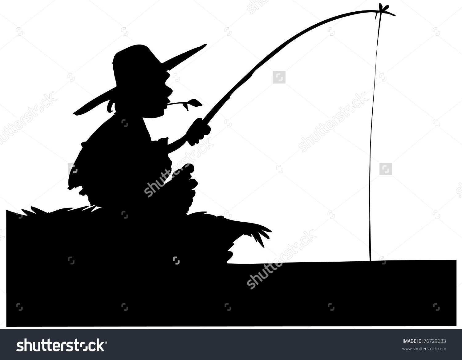 Silhouette Of Boy Fishing. Isolated On White Stock Vector.