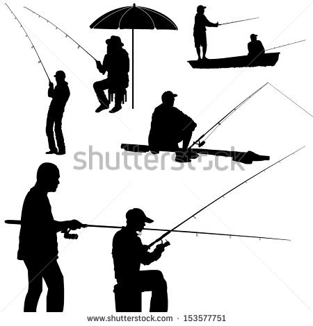 Fisherman Silhouette Stock Images, Royalty.