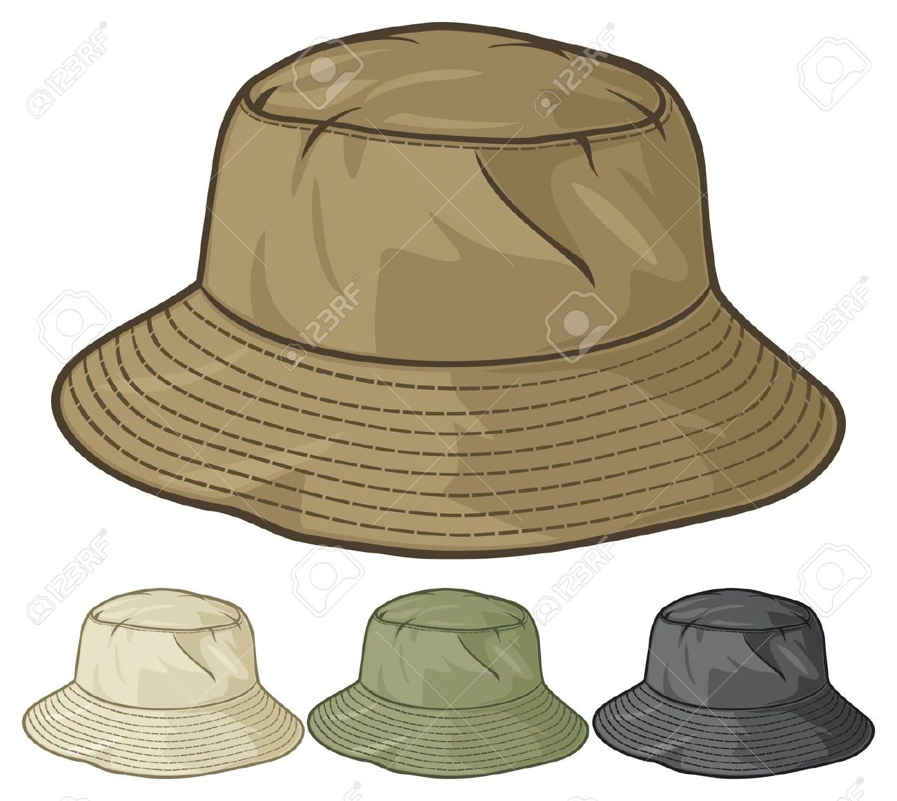 Bucket Hat Collection Bucket Hat Set Royalty Free Cliparts.