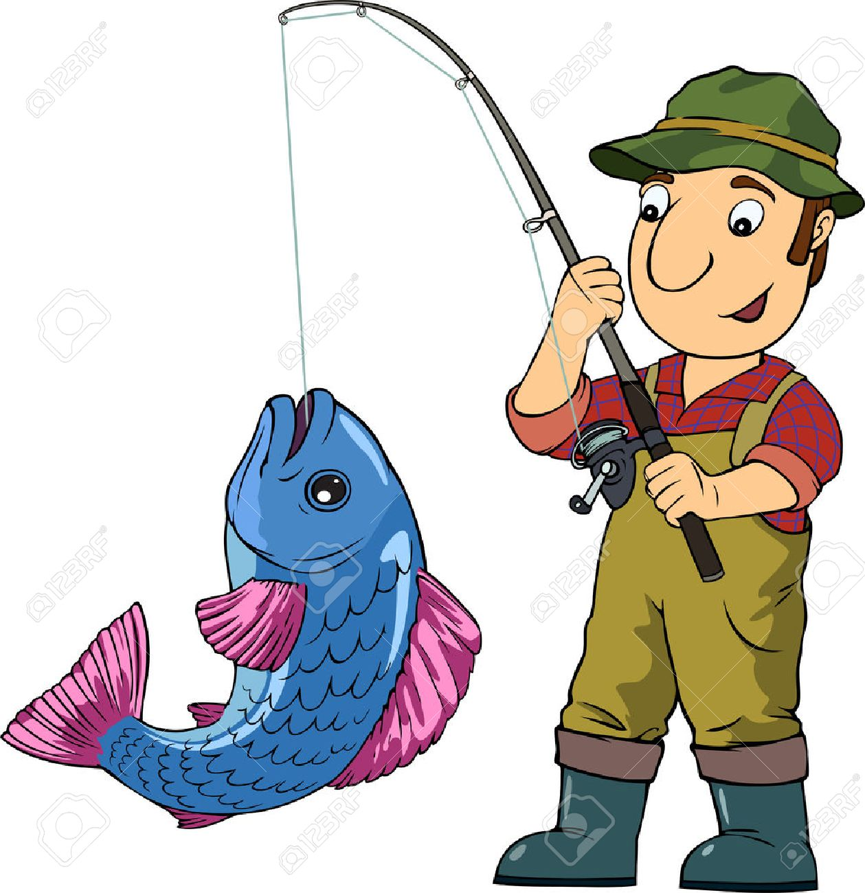 Cartoon vector colored illustration with fisherman and his trophy.