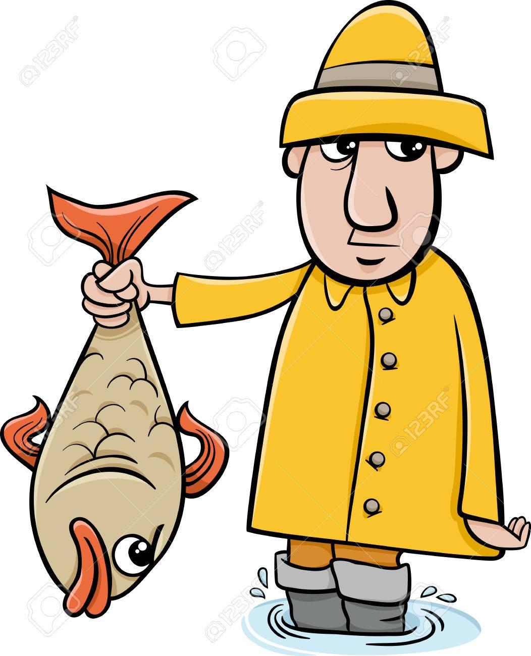 Cartoon Illustration of Angler or Fisherman with Big Fish.