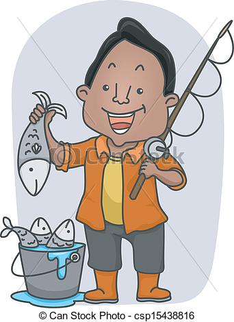 Fisherman Holding Fish Clipart.