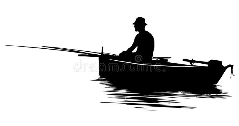 Fisherman Silhouette Stock Illustrations.