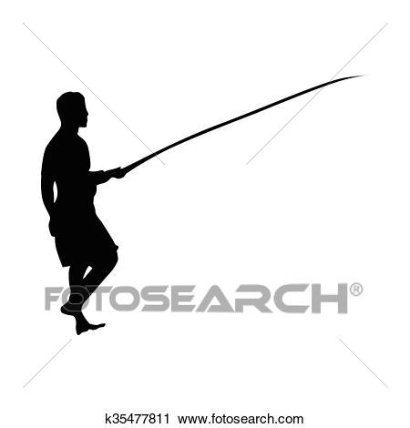 Fisherman silhouette black Clipart.
