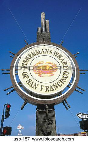 Picture of Fisherman's Wharf Sign San Francisco California USA usb.