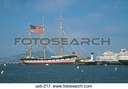 Picture of Ship with Flag Fisherman's Wharf San Francisco USA usb.
