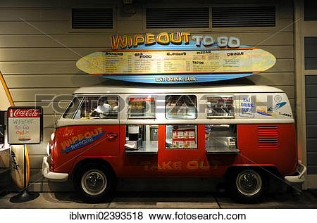 """Pictures of """"Wipeout To Go takeaway in an old VW bus, Pier 39."""