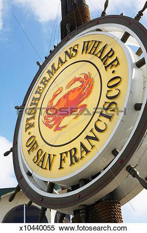Stock Image of 'Fisherman's wharf of San Francisco' sign, close.