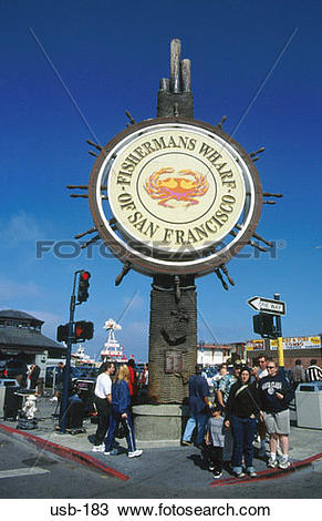 Stock Photo of Tourists by Fisherman's Wharf Sign San Francisco.