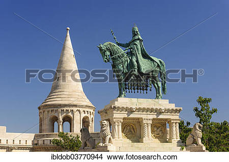 "Stock Photo of ""Equestrian statue of King Stephen I, Fishermen's."