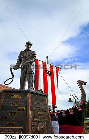 Stock Photography of Fisherman's Statue and Viking longboat at.