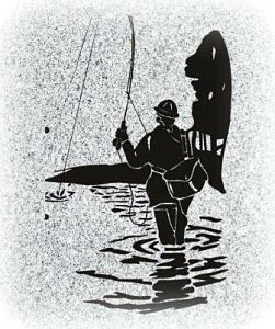 Fisherman black background clipart for headstones.