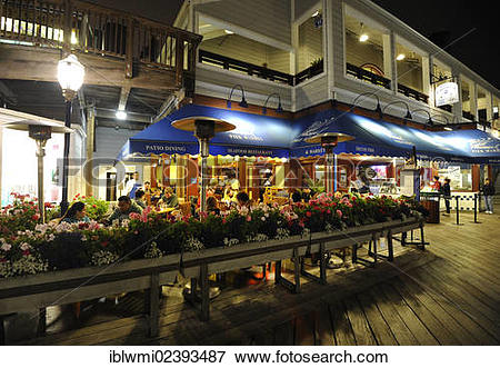 """Picture of """"Night scene, seafood restaurant, Pier 39, Fisherman's."""