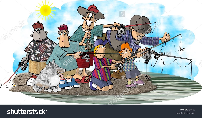 Clipart Illustration Group Fishermen Stock Illustration 36659.