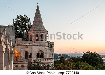 Stock Photo of south gate of Fisherman's Bastion in Budapest at.