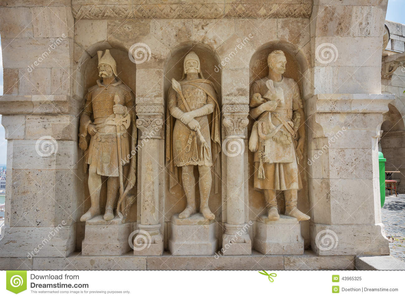 Guardian Statues Fisherman's Bastion Budapest Stock Photo.
