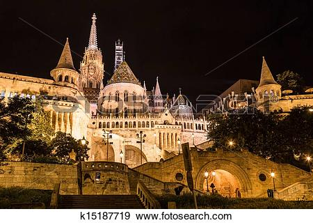 Stock Photograph of Fisherman's bastion night view, Budapest.