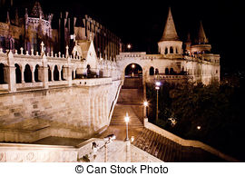 Stock Photos of Fisherman's Bastion at night, Budapest.