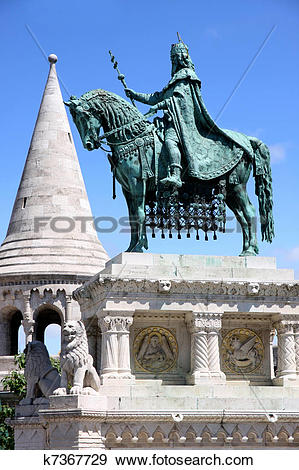 Stock Photograph of Saint Istvan statue and fisherman's bastion in.