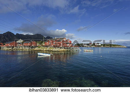 """Stock Photography of """"Rorbuer fishermen's cabins with a small."""