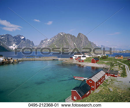Stock Photography of Norway, Lofoten,Town View with Fisherman's.