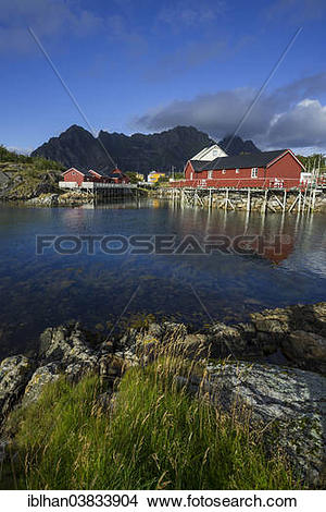 """Stock Photo of """"Settlement with Rorbuer fishermen's cabins."""