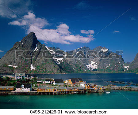 Stock Photography of Norway, Town View with Fisherman's Cabins.