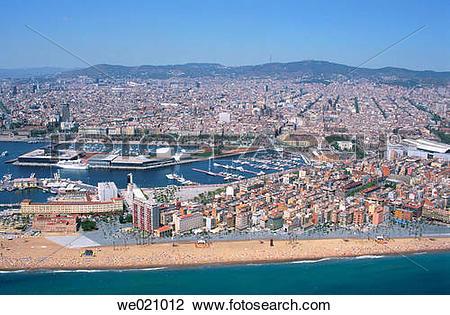Stock Photo of Barceloneta, old fishermen's quarter. Barcelona.