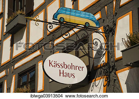 "Stock Photo of ""Hanging sign, Kassbohrer Haus, Setra Museum."