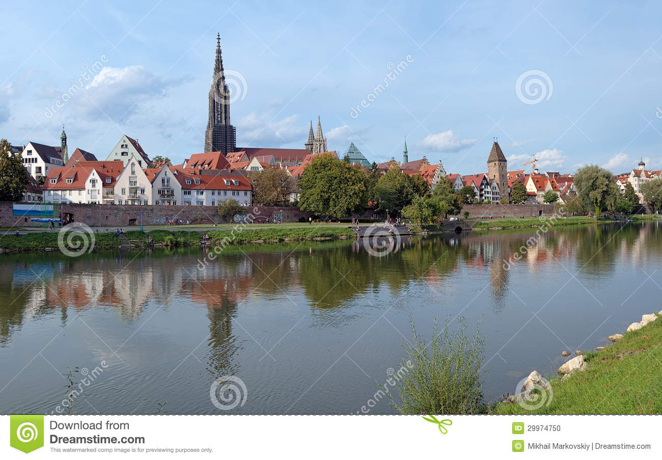 View On Danube River And Ulm Minster, Germany Stock Photo.