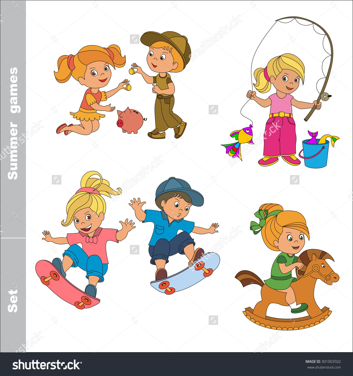 Kid Summer Games Boy Girl Play Stock Vector 301003502.