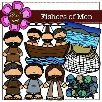 Fishers of Men Digital Clipart (color and black&white).