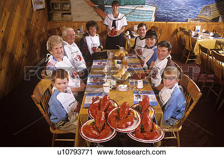 Stock Photography of Lobster supper, Fisherman's Wharf, North.