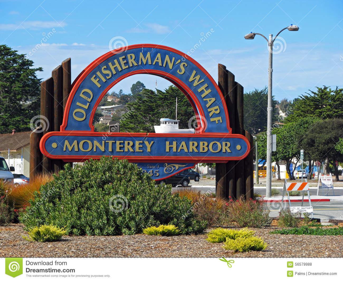 Fisherman's Wharf, Monterey Harbor, California Stock Photo.