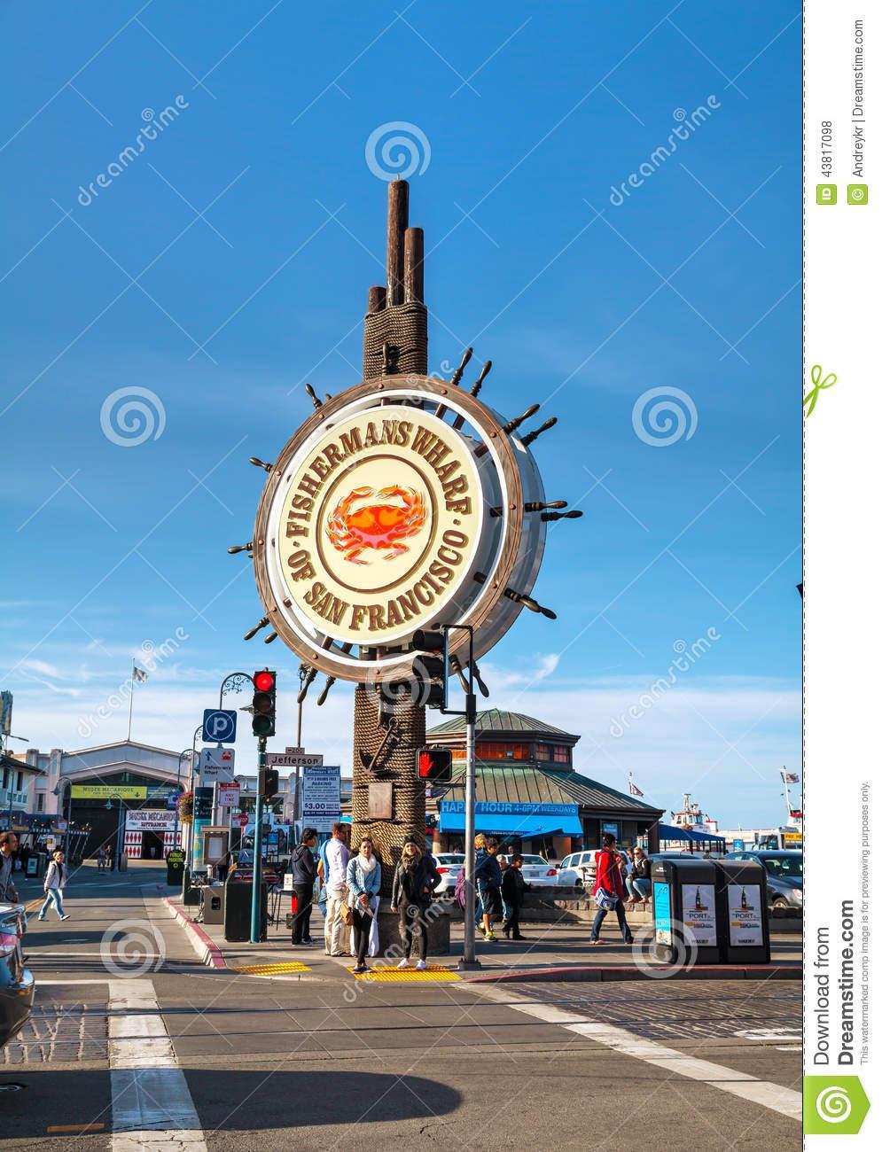 Famous Fisherman's Wharf Of San Francisco Editorial Stock Photo.