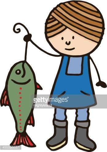 Girl fisherwoman holding up a large fish Clipart Image.