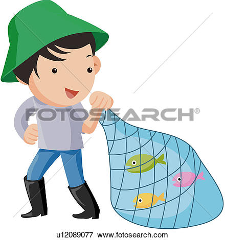 Clipart of fisherman, character, fishing net, fish, fishery.