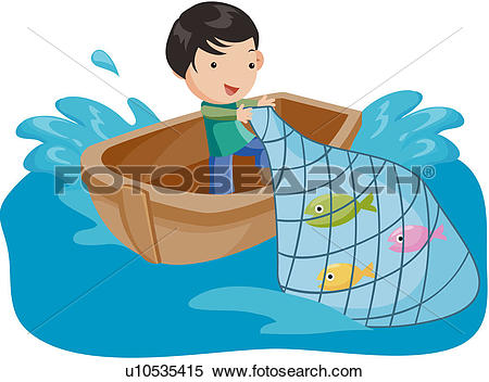 Clipart of fisherman, fishing net, fishing boat, fishing, fishery.