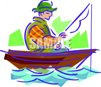Man Fishing In Boat Clipart.