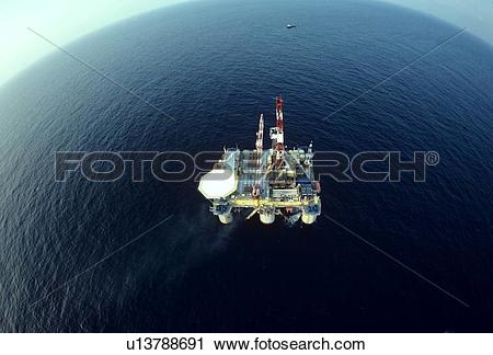 Stock Photography of Offshore Oil Drilling Rig with Fisheye Lens.