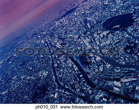Stock Photography of An aerial fisheye lens view of Meguro.