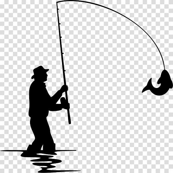 Fly fishing Silhouette, Fishing transparent background PNG.