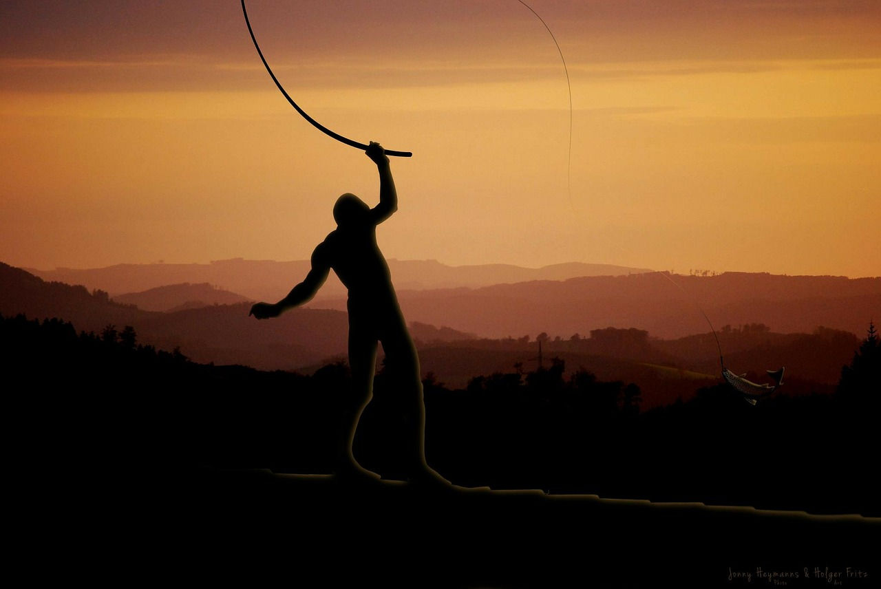 man silhouette fishing sunset clipart.