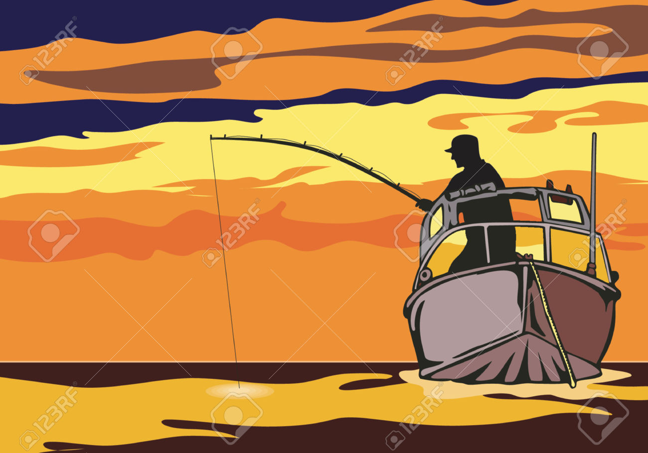Fishing In The Sunset Royalty Free Cliparts, Vectors, And Stock.