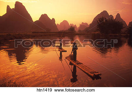 Stock Photograph of China, Guilin, Li, River, Cormorant Fishing at.
