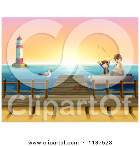 Cartoon of a Boy and Dad Fishing by a Lighthouse and Dock at.