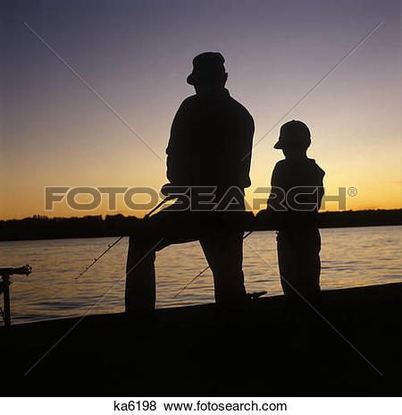 Pictures of Father Son Sunset Lake Fishing Angling Silhouette.
