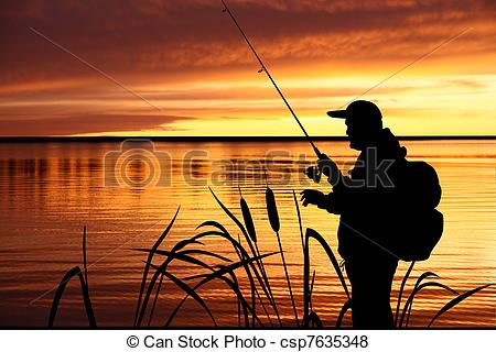 Stock Illustration of fisherman silhouette with sunset behind.
