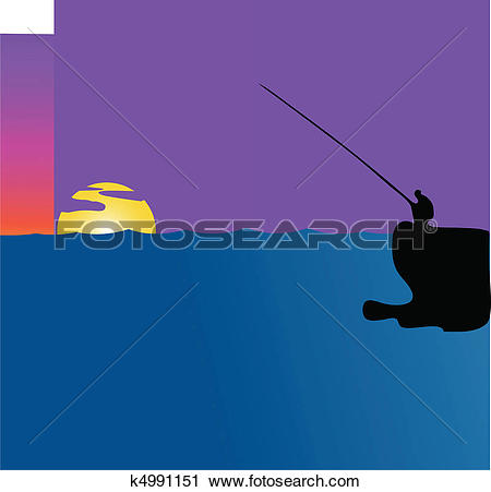 Clipart of Fishing at sunset k4991151.